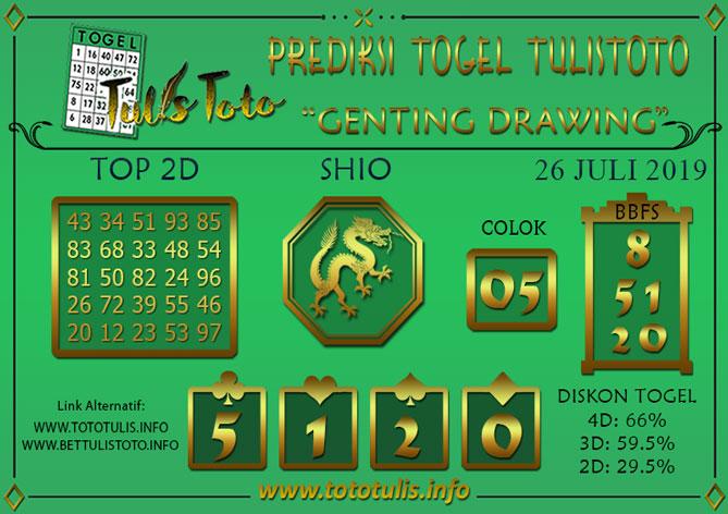 Prediksi Togel GENTING DRAWING TULISTOTO 26 JULI 2019