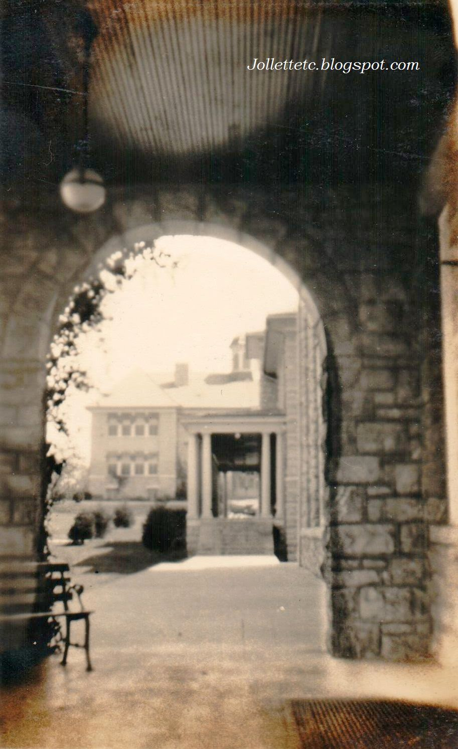 Arch between Harrison and Jackson Hall, Harrisonburg Teachers College early 1920s.