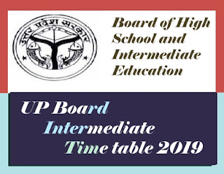 UP Board 12th Date Sheet 2019, UP 12th Time table 2019, UP Board Time table 2019, UP Board Exam Date Sheet 2019