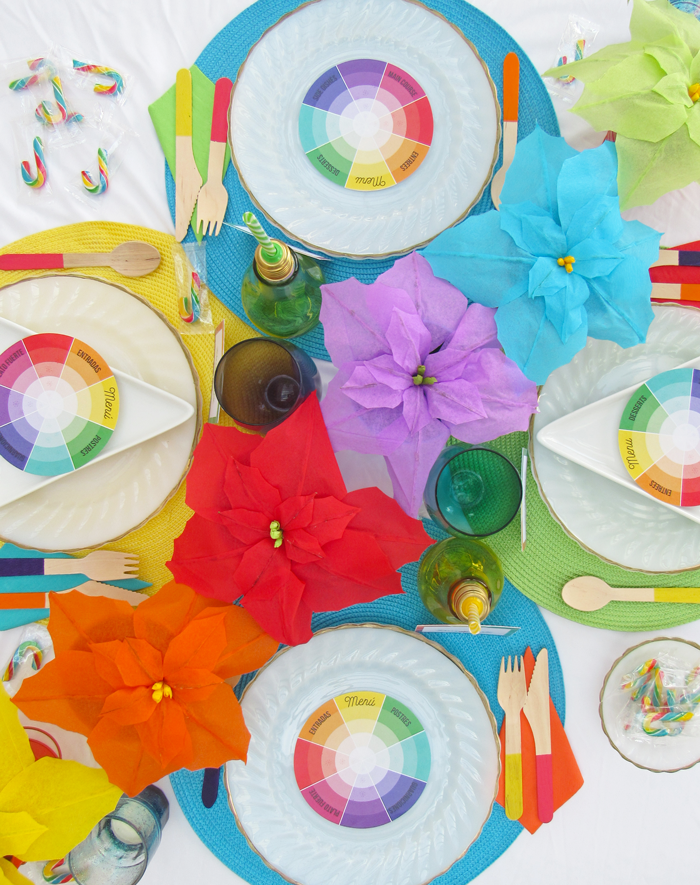 Colorful Christmas dinner table setting, color wheel inspired, entertaining, decoration, paper flowers, poinsettias