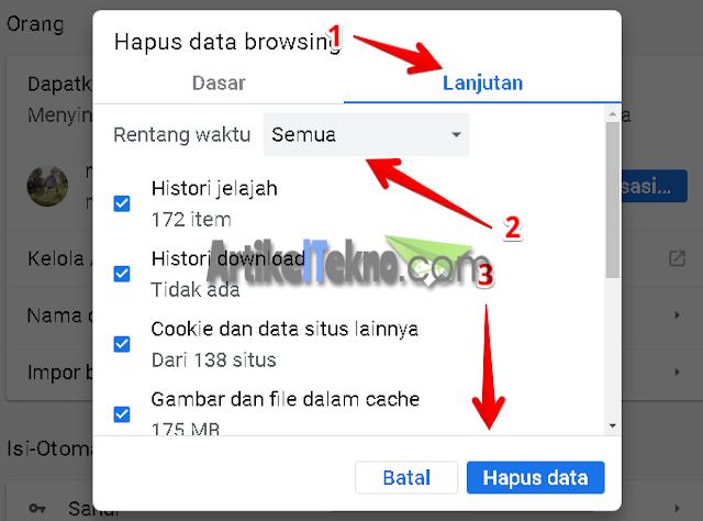 Cara menghapus data browsing atau cache google chrome