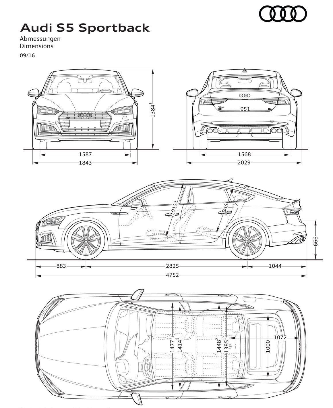 Audi S5 Sportback 2016-2017 Dimensioni e Misure bagagliaio