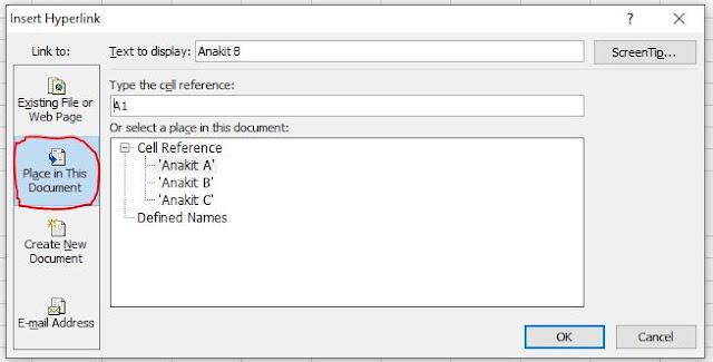 Membuat link menuju sheet lain dengan hyperlink