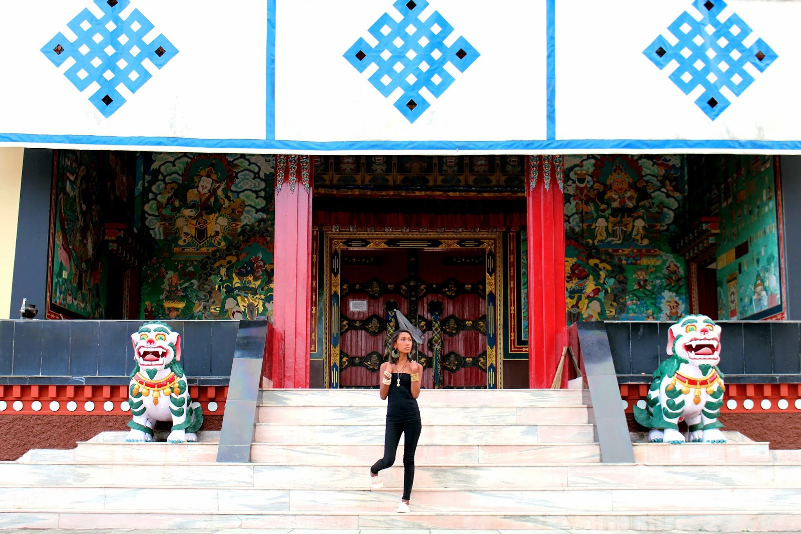 Tibetan monastery, shrine room, model, jewelry, photoshoot