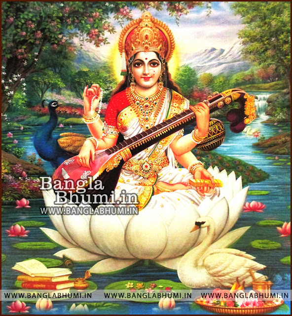 Maa Saraswati Indian God HD Poster Wallpaper Free Download
