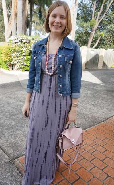 tie dye maxi dress with ankle boots and denim jacket for autumn with blush pink accessories | away from blue