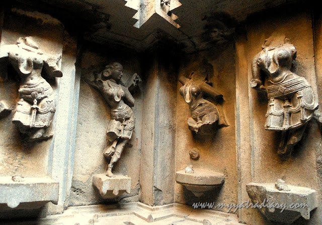 Intricate sculptures at the walls of Bhuleshwar Shiva Temple near Yavat, Pune
