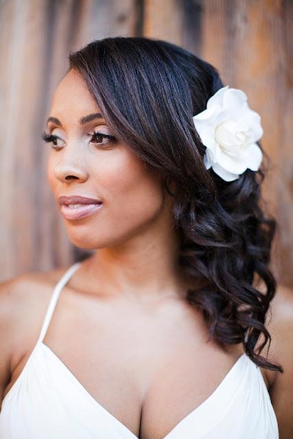 medium length black bridal hairstyle
