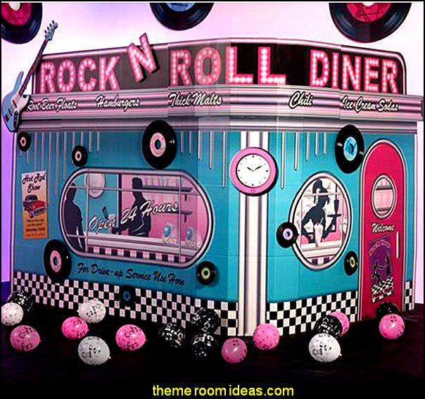 Rock 'N Roll Diner  50s party ideas - 50s party decorations - 1950s Theme Party - 1950's Rock and  Roll Themed Party Supplies - 50s Rock and Roll Theme Party - 50s party decorations - 50s party props - 50s diner party