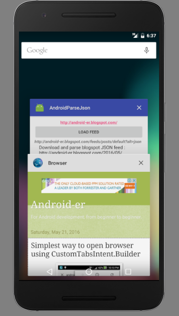 Android Er Parse Blogspot Json Feed Detect Item Clicked