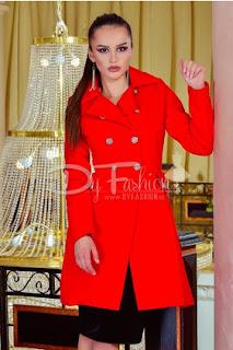 Palton elegant de femei rosu scurt de iarna