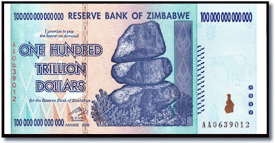 one hundred trillion zimbabwean dollars banknote, rampant inflation