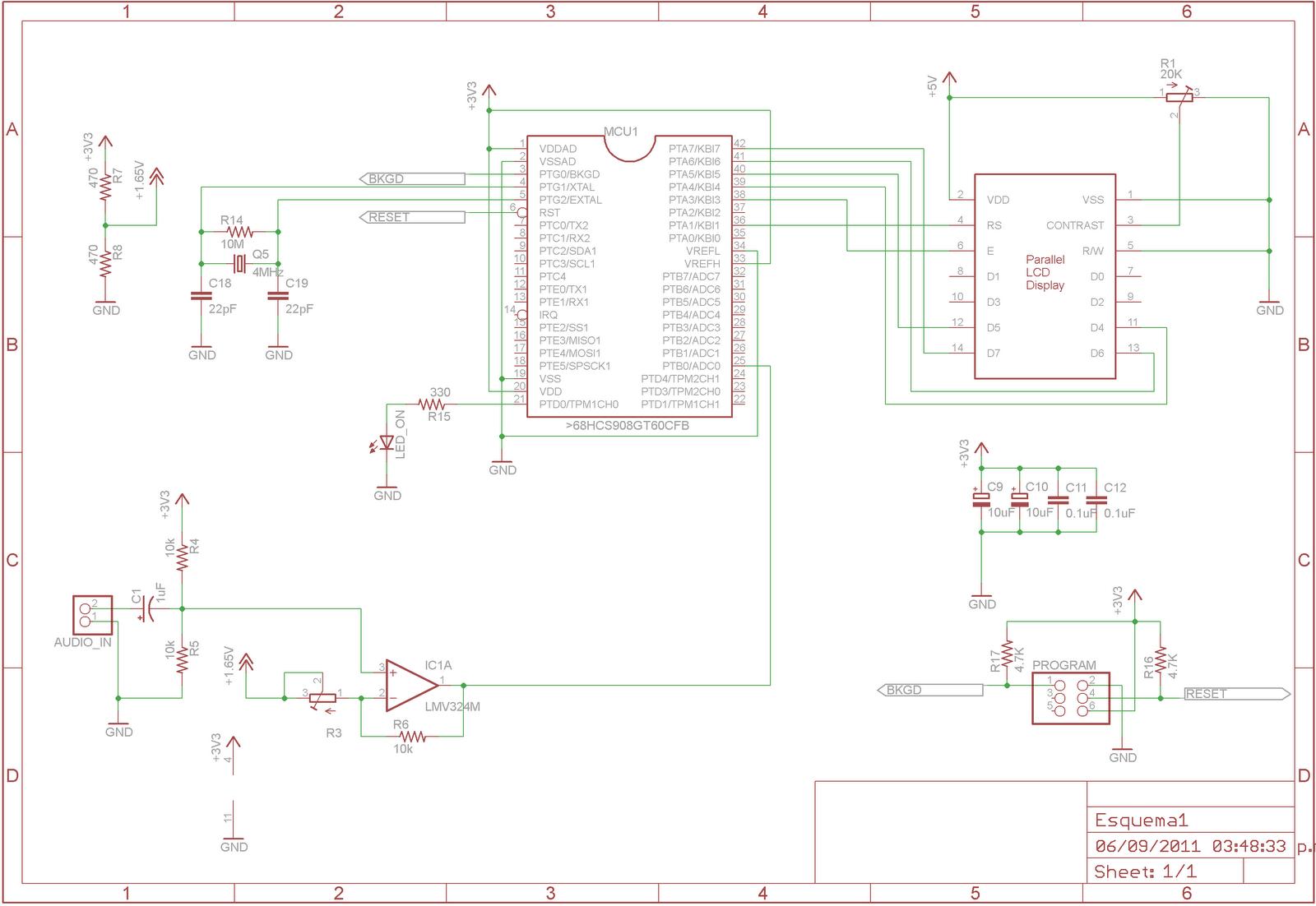 Candelectronicaizador De Espectro De Audio Con Lcd