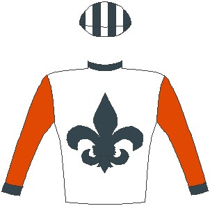 Brazuca - Jockey Silks - Horse Racing - White, black fleur de lys, red sleeves, black collar and cuffs, black and white striped cap