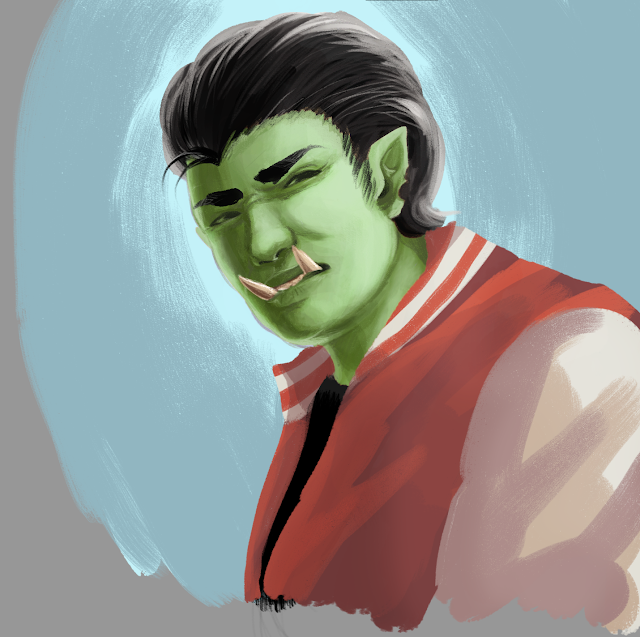 An orc in a leather jacket with great hair