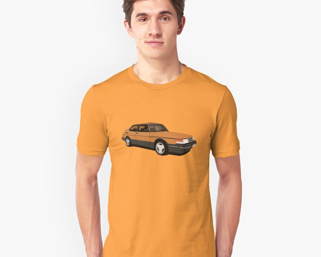 Saab 900 Turbo Aero orange t-shirt retro