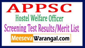 APPSC Hostel Welfare Officer (HWO) Screening Test Results/Merit List 2017