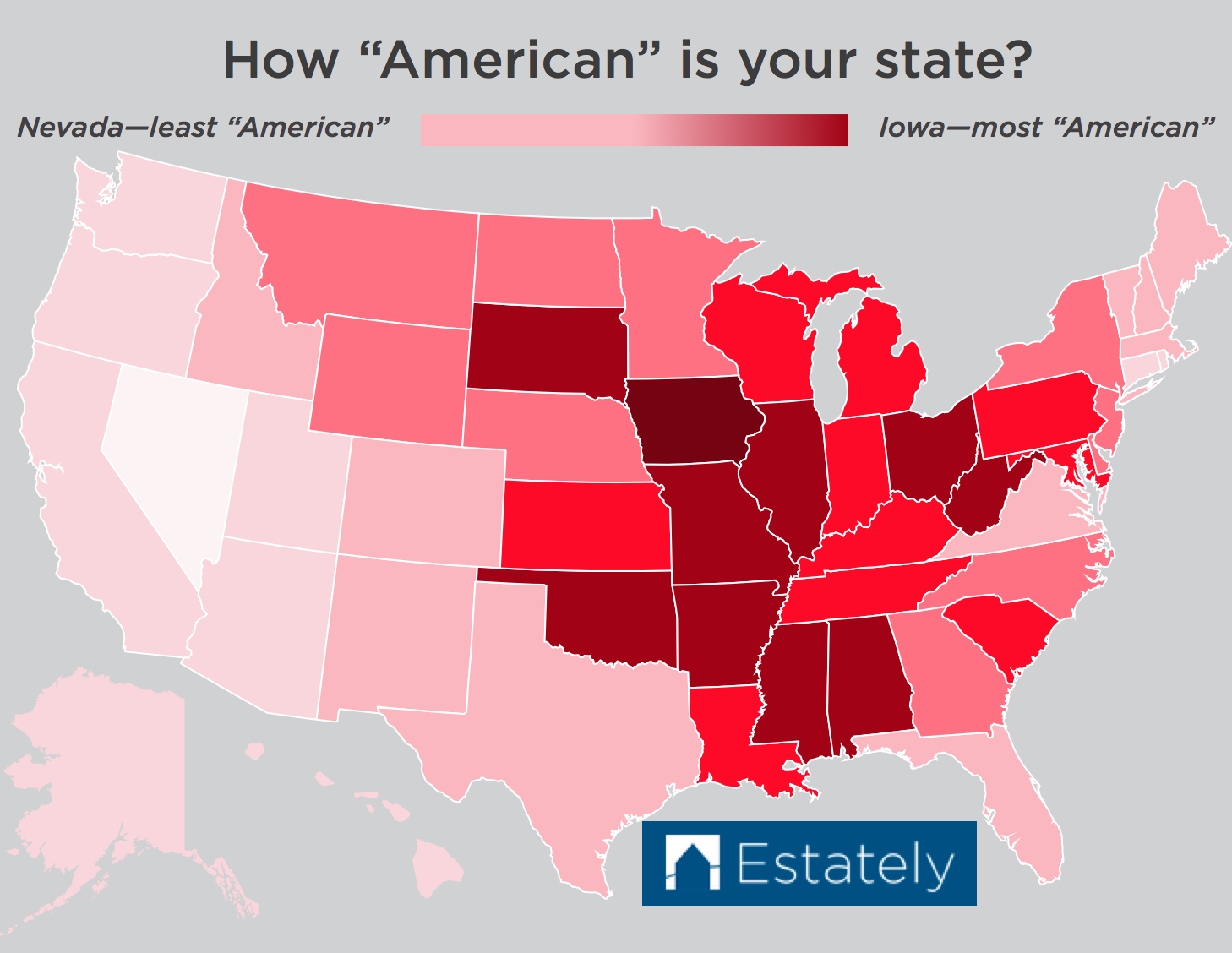 "Nevada - least ""American"". Iowa - most ""American""."