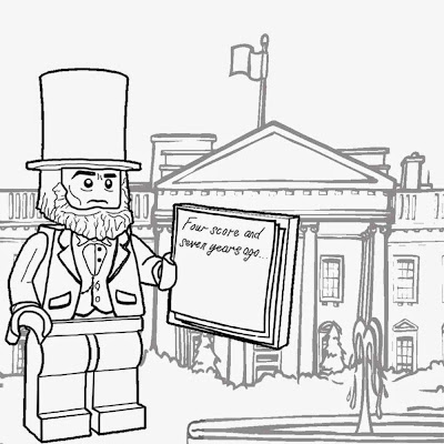 Lego Movie character White House American president Abraham Lincoln Minifigure to color and printout