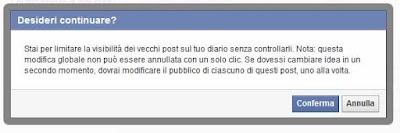 Conferma limita i post passati facebook