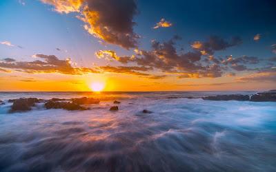Papel de parede Pôr do Sol Oceano Praia Céu Nuvens