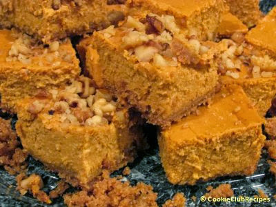 Pumpkin Cheesecake Bars at CookieClubRecipes