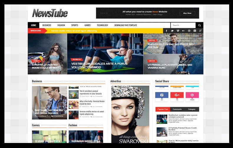 NewsTube Blogger Template Free Download