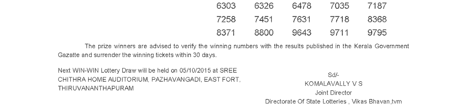 WIN WIN Lottery W 327 Result 28-9-2015