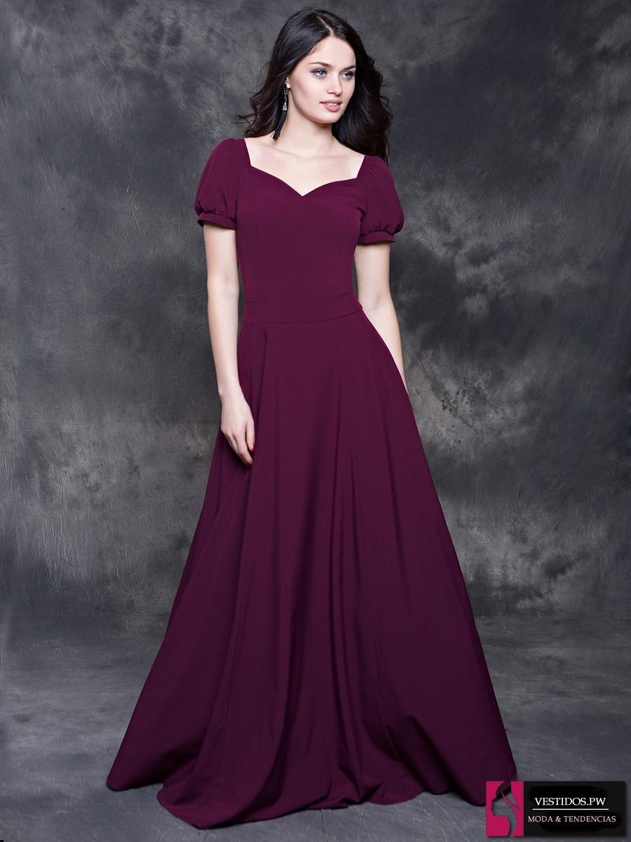 Vestidos de noche para gorditas color vino