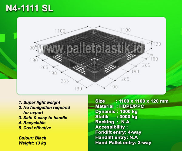 Jual Pallet Plastik One Way Series N4-1111SL