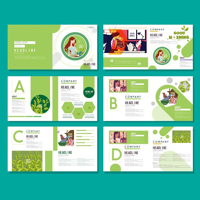 Brochure templates healthy life theme bright green white Free vector