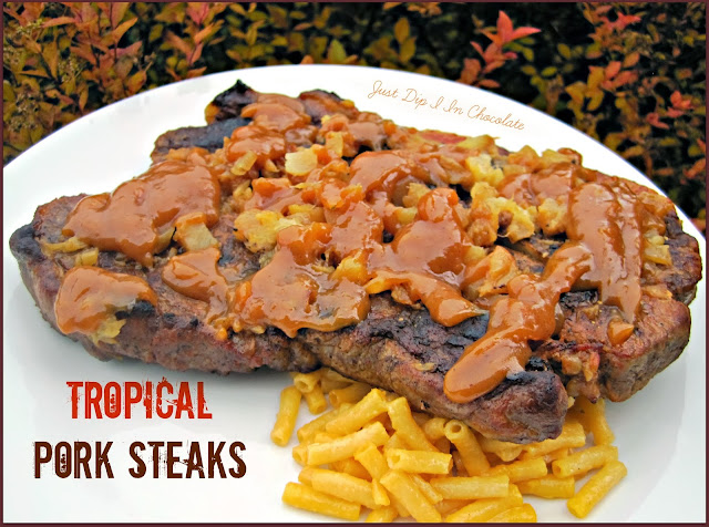 Tropical Pork Steaks Recipe, when the days get cold nothing will warm you up and bring you to a tropical paradise than these delicious pork steaks, juicy in the inside, perfectly seared and covered in a sweet tropical sauce! Yumm