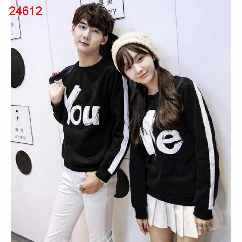 Jual Sweater Couple Sweater You Me Stripe Black - 24612