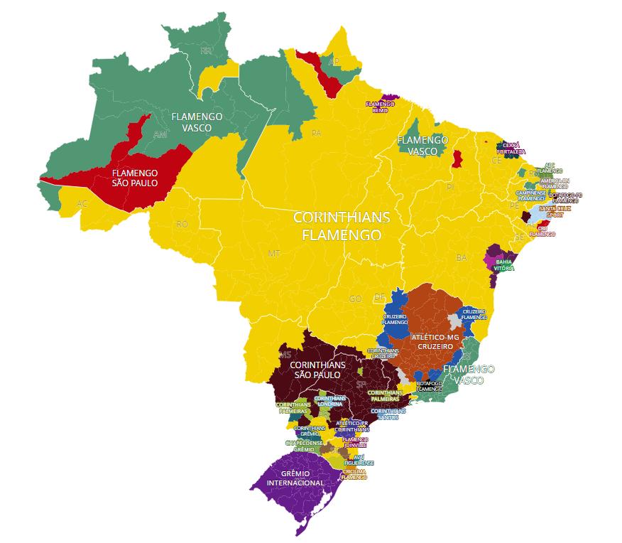 Mapa da Torcida dos Clubes Brasileiros