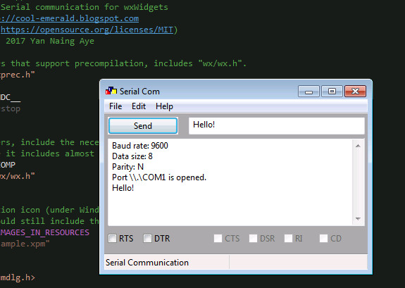 Cool-Emerald: Programming serial port in C++ with wxWidgets
