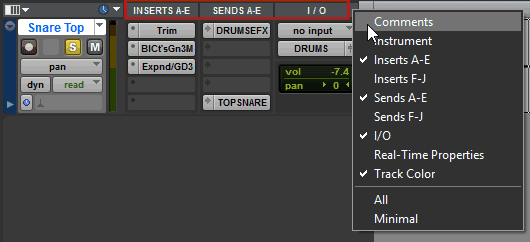 A Pro Tools channel strip showing Inserts, Sends and I/O window views.