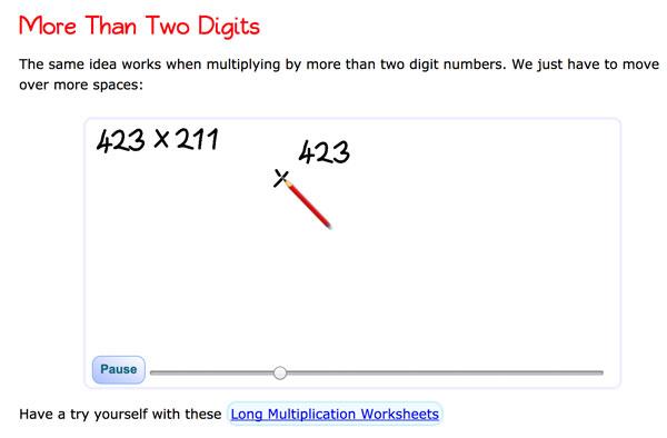 Enlaces y recursos para practicar las multiplicaciones largas de más de dos dígitos