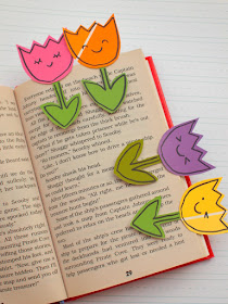 Spring Paint Chip Flower Bookmarks