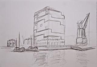 Graphic Eilandje, pencil sketch of the MAS Antwerpen
