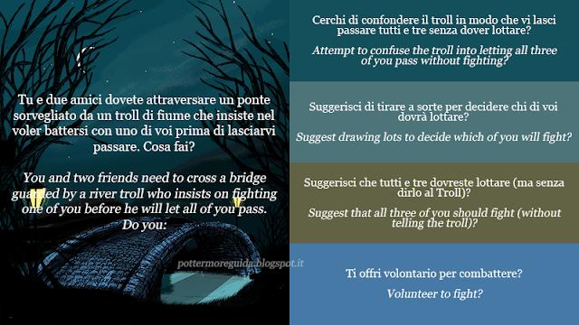 Tu e due amici dovete attraversare un ponte sorvegliato da un troll di fiume che insiste nel voler battersi con uno di voi prima di lasciarvi passare. Cosa fai?