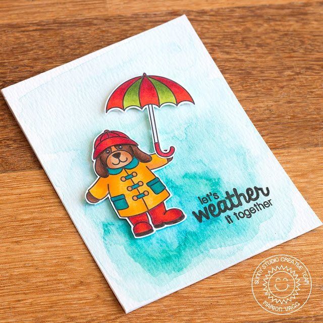 Sunny Studio Stamps: Rain or Shine Let's Weather It Together Card by Marion Vagg.