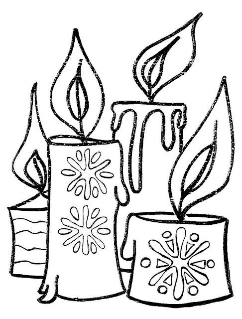 bougies noel colorier