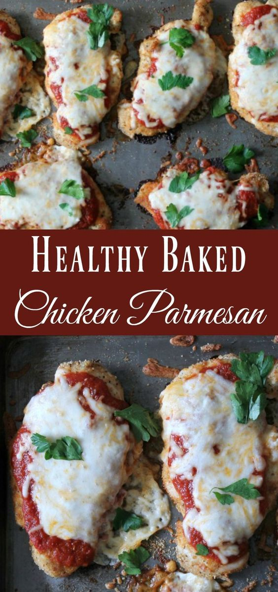 Healthy Baked Chicken Parmesan #healthyrecipes #healthyfood #baked #chicken #chickenrecipes #parmesan