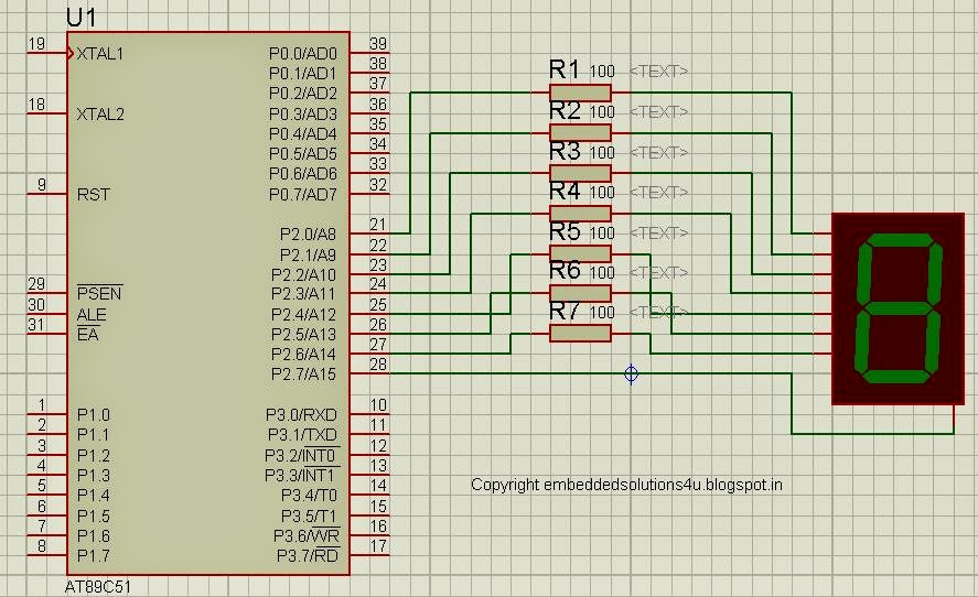 write a program to interface 7 segment display with multiplexing