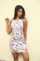 Nishi Ganda stunning cute in Flower Print short dress at Tick Tack Movie Press Meet March 2017 058.JPG