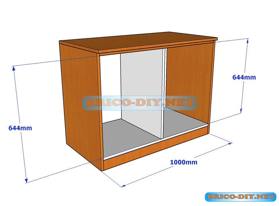 Plano y medidas de c mo hacer una comoda de melamina con for Medidas de muebles de oficina pdf