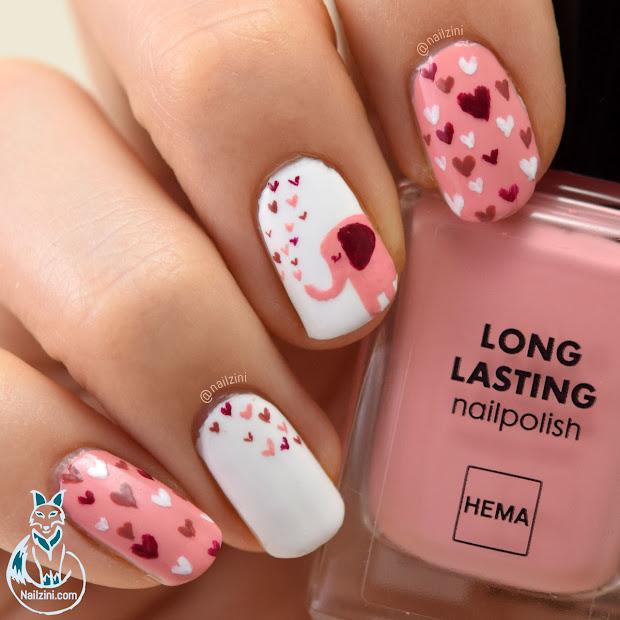 cute elephant valentine nail art
