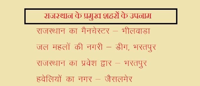 राजस्थान के प्रमुख शहरों के उपनाम
