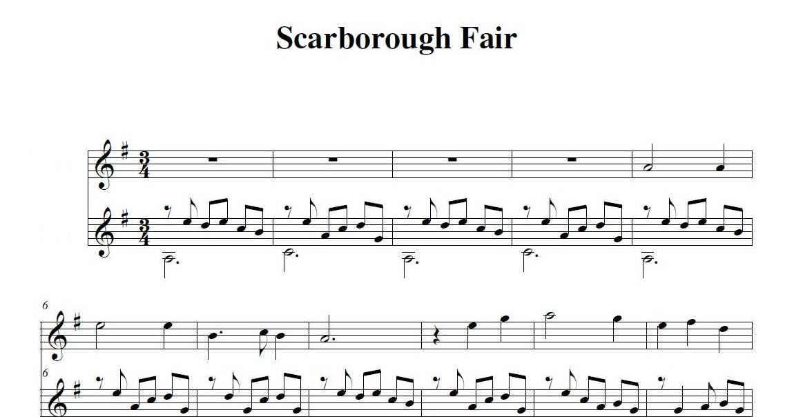 Piano scarborough fair piano sheet music : Sound Collages: Scarborough Fair (for recorder and guitar)