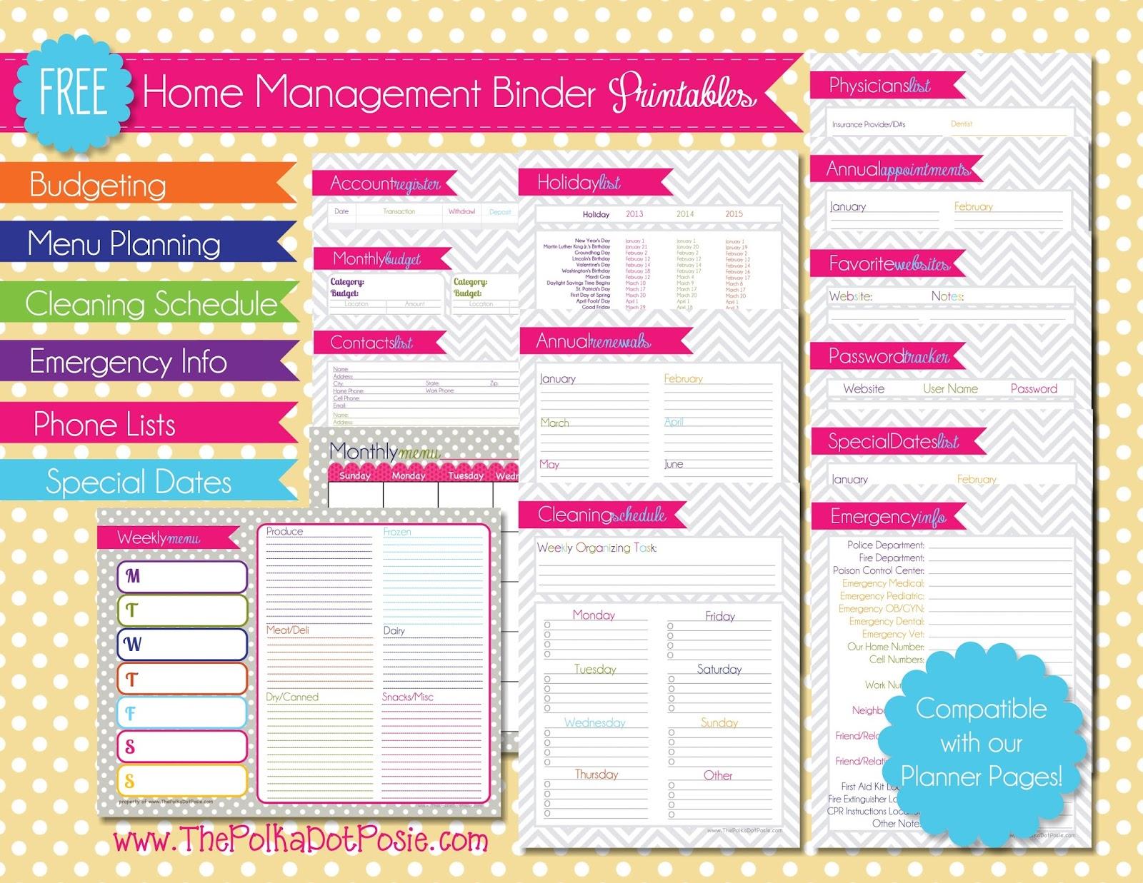 Free Printables For Home Management Binder